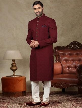 Amazing maroon silk sherwani for wedding