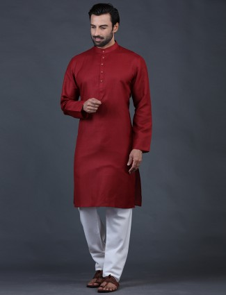 Amazing maroon solid cotton festive kurta suit