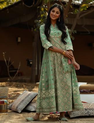Amazing mint green festive wear kurti in cotton