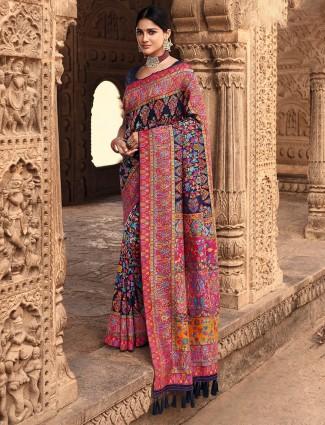 Amazing navy banarasi kora silk wedding wear saree
