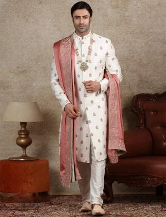 Amazing off white silk sherwani for wedding
