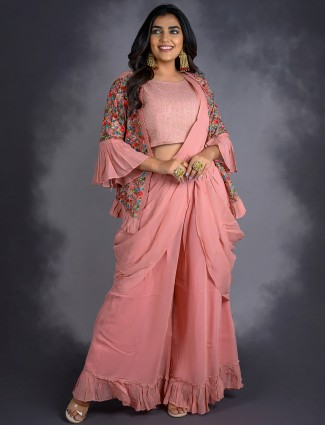 Amazing onion pink georgette palazzo suit