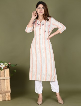 Amazing peach stripe casual wear kurti