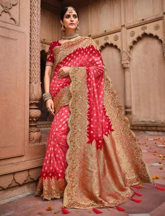 Amazing Pink dola silk saree for wedding ceremonies