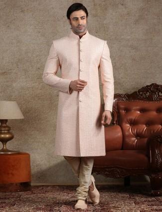 Amazing pink raw silk sherwani for wedding