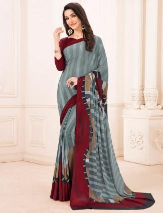 Amazing printed crepe grey and maroon saree