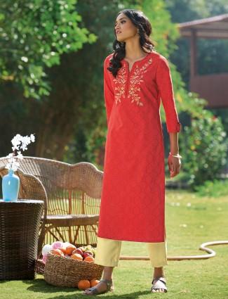 Amazing red casual wear womens printed kurti