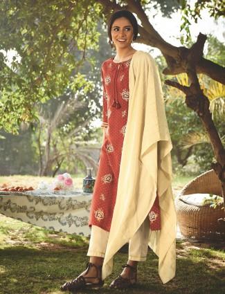 Amazing rust cotton festive wear punjabi style pant suit
