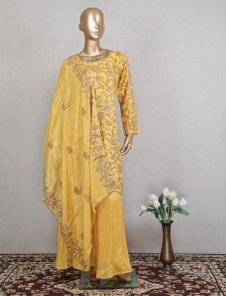 Amazing wedding and festive occasion yellow georgette sharara suit