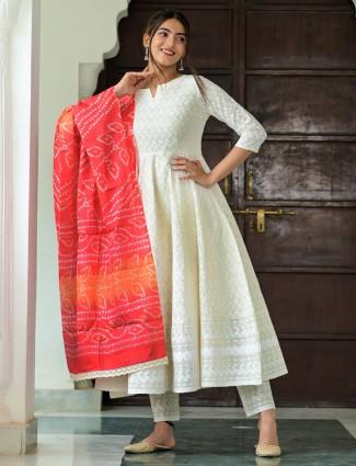 Amazing white cotton festive wear punjabi anarkali style pant suit