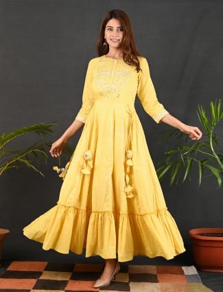 Amazing yellow casual occasions printed kurti