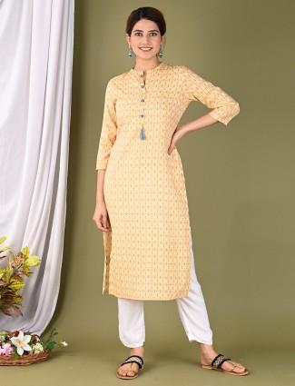 Amazing yellow casual wear womens printed kurti