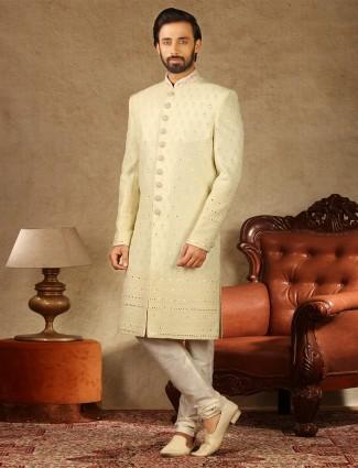 Amazing cream georgette sherwani for wedding