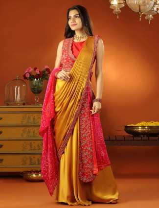 An alluring Gold colour ready to wear saree with ready made blouse