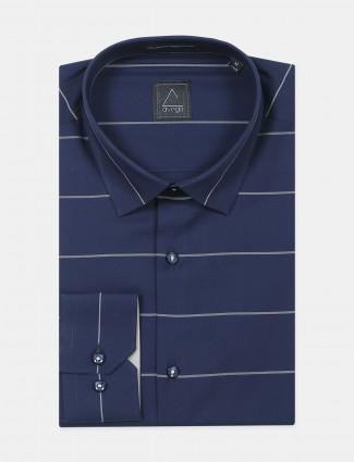 An Avega brand stripe style navy tint formal shirt