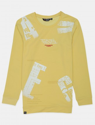 An Freeze branded yellow slim-fit mens t-shirt