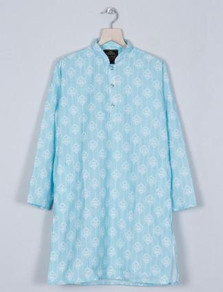 An printed style aqua hue kurta suit for boys