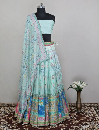 An sea green shade printed unstitched lehenga for women