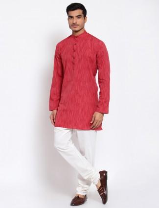 An strawberry pink shade cotton kurta with churidar for men