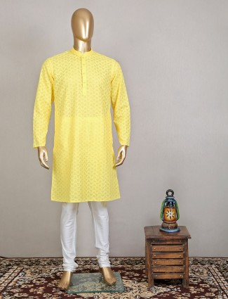 An thread decorated yellow kurta suit for men