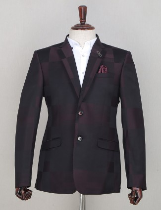 An wine shade blazer for mens in terry rayon