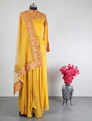Anarkali for wedding in yellow color