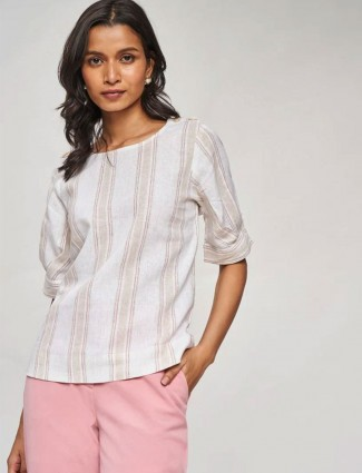 AND Beige Striped A-Line Top