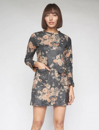 AND grey floral printed Fit lycra cotton casual dress