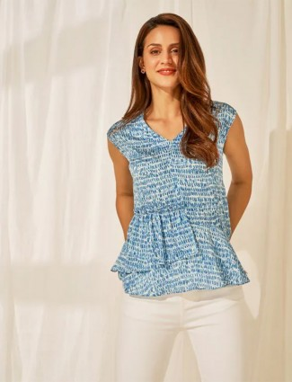 AND blue abstract printed peplum poly cootton top