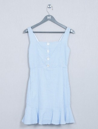 AND blue cotton western top for women
