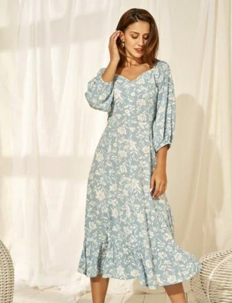 AND blue printed poly cotton dress