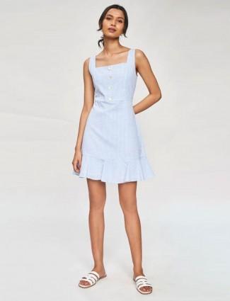 AND Blue Solid designer Flare Dress