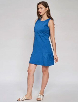 AND Blue Solid Fit And Flare Dress