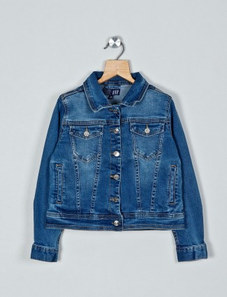 AND blue washed denim jacket style top
