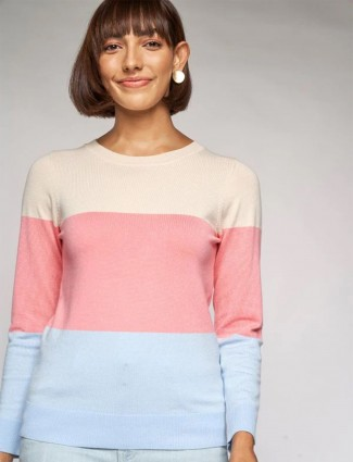 AND casual wear knitted top in cream hue