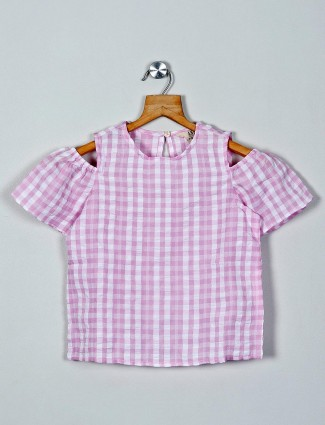 AND Checks pink cotton top for girls