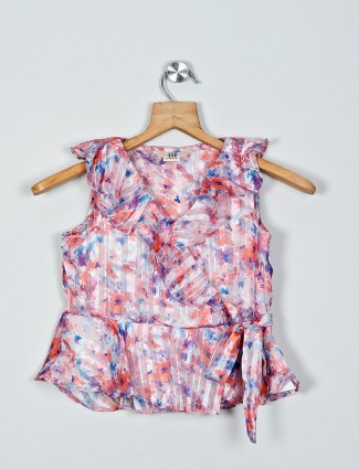 AND comfartable onion pink printed top for girls in cotton