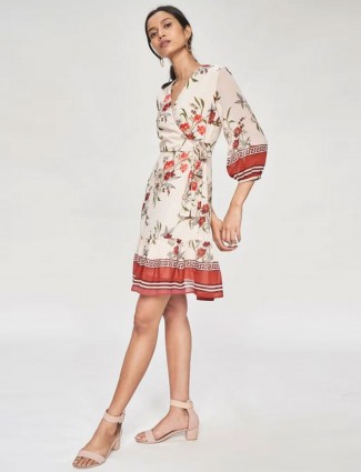 AND Cream and Pink Floral Printed Fit And Flare Dress