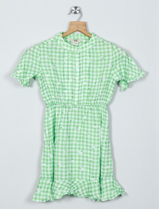AND green checks pattern cotton dress for girls
