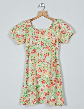 AND green color printed cotton dress