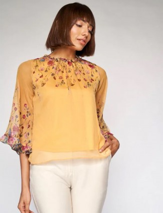 AND latest printed ochre yellow hue casual top for women