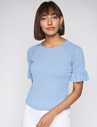 AND cotton casual lavender blue top in solid style