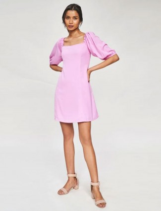 AND Lilac Solid Fit And Flare Dress