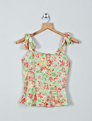 AND lime printed cotton casual top