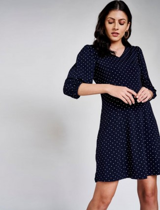 AND Navy Blue Polka Dots Printed A-Line Dress