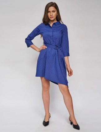 AND Navy Blue Solid A-Line Dress