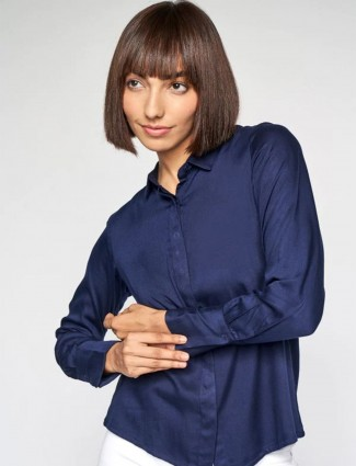 AND new indigo blue knitted top for women