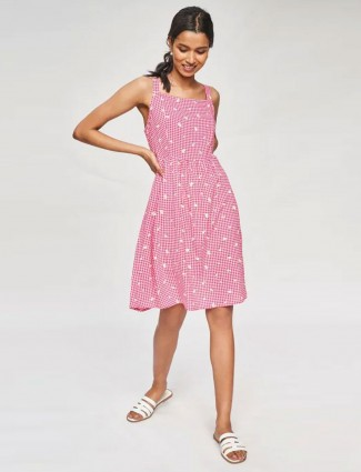 AND Pink Floral Printed Flare Dress