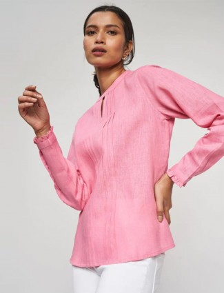 AND pink solid casual linen top