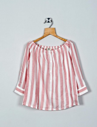 AND pink stripe style cotton casual top